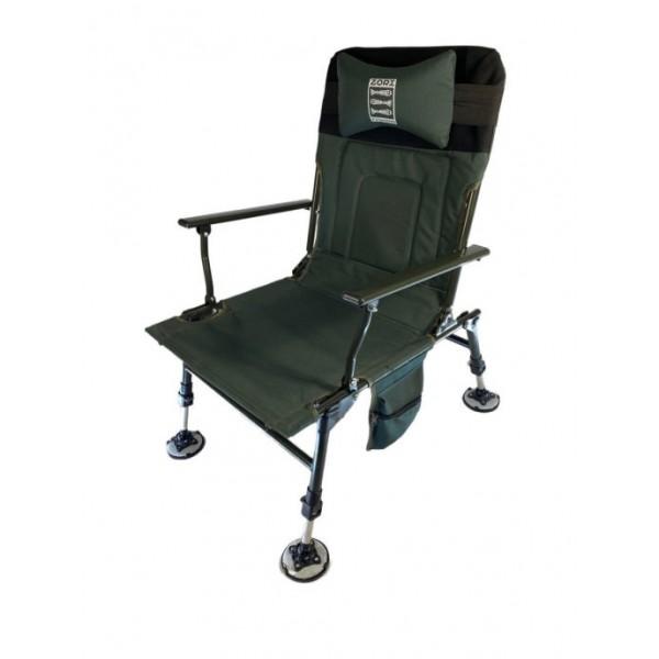 Кресло карповое с подголовником и боковыми карманами