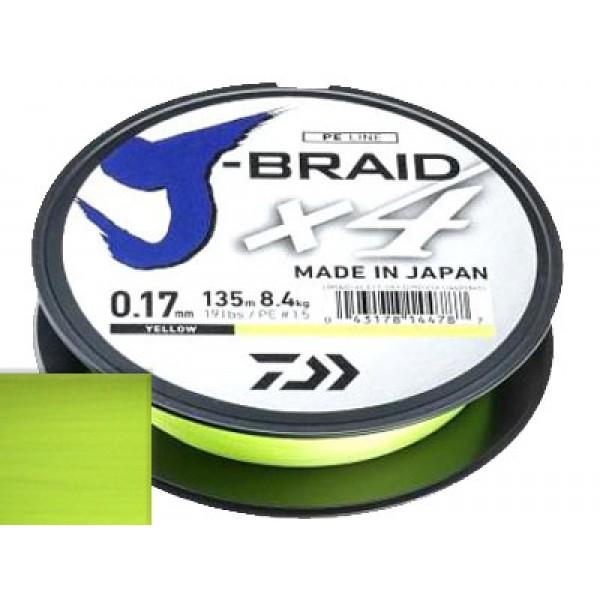 Шнур Daiwa J-Braid X4 Yellow 0.19мм 135м