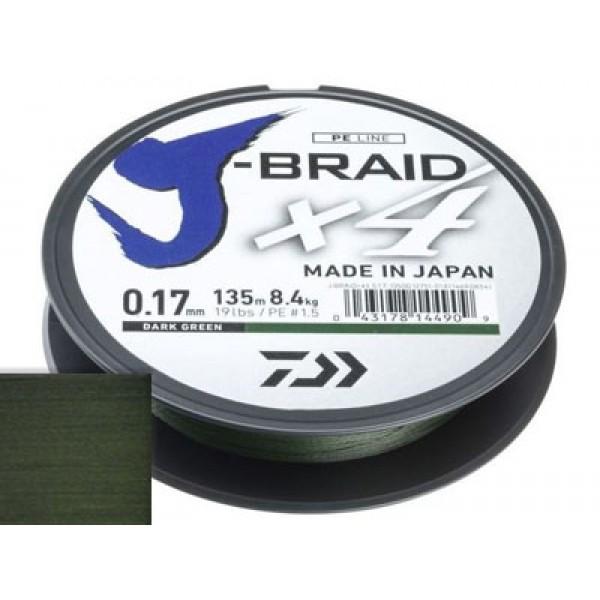 Шнур Daiwa J-Braid X4 Dark Green 0.17мм 135м