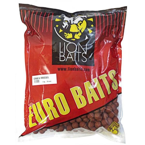 LION BAITS бойлы тонущие серии EURO BAITS 20 мм краб и ракушка (Crab & Mussel) - 5 кг