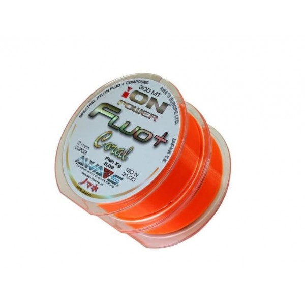 ЛЕСКА КАРПОВАЯ AWASHIMA ION POWER FLUO+ CORAL AWA'S  7кг