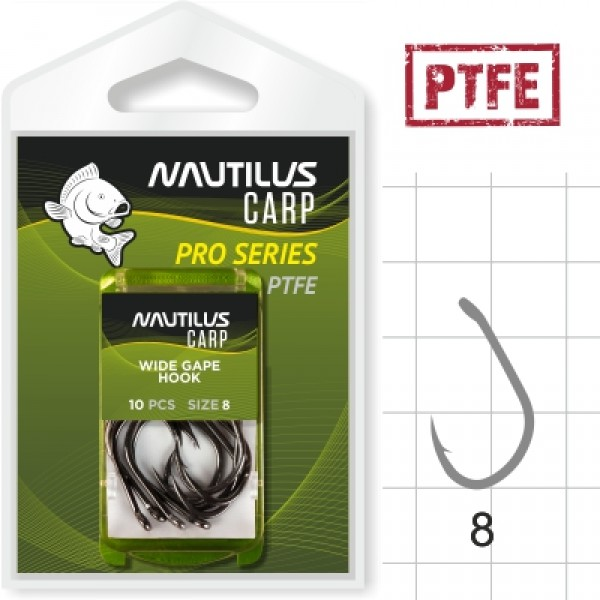 Крючок Nautilus Pro Series Wide Gape Hook PTFE #8