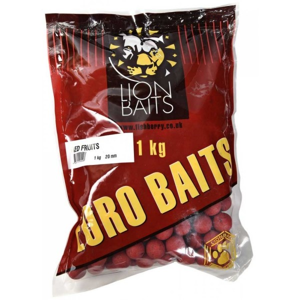 LION BAITS бойлы серии EURO BAITS 20 мм красные фрукты (Red Fruits) - 1 кг